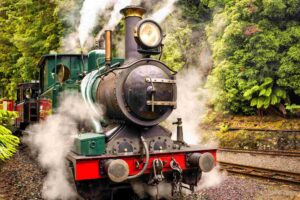 The West Coast Wilderness Railway, Tasmania is a reconstruction of the Mount Lyell Mining and Railway Company railway between Queenstown and Regatta Point, Strahan.