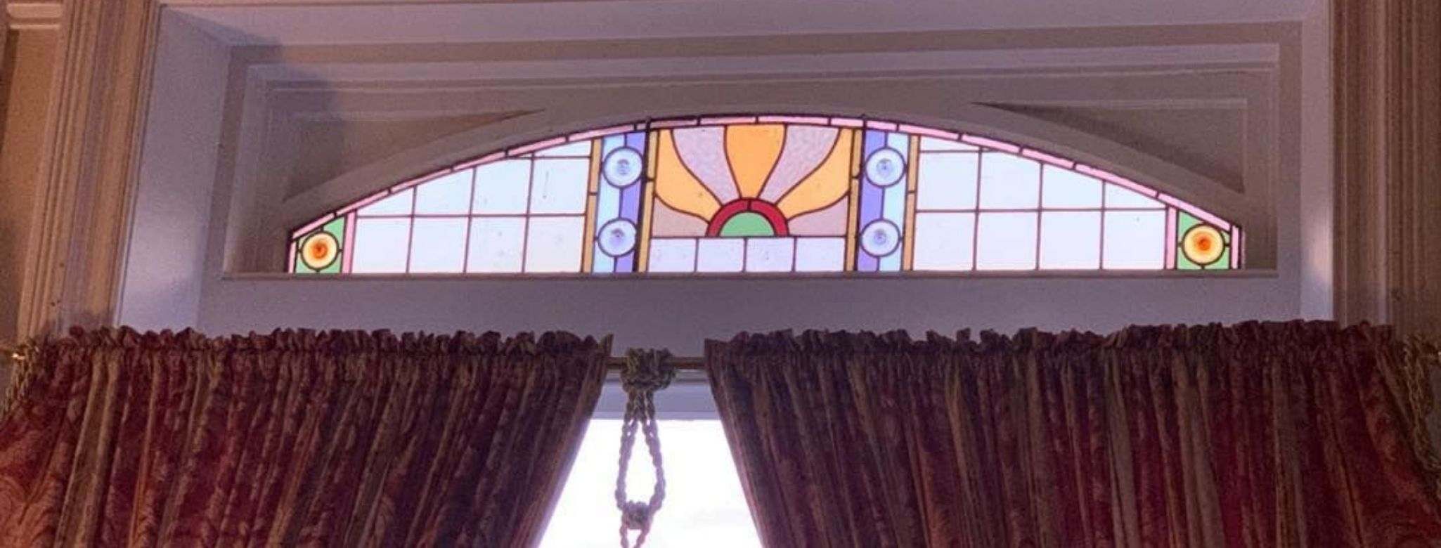 A Colourful Leadlight Panel, Just One Of The Original Features At The Historic Penghana Bed And Breakfast In Queenstown, Tasmania