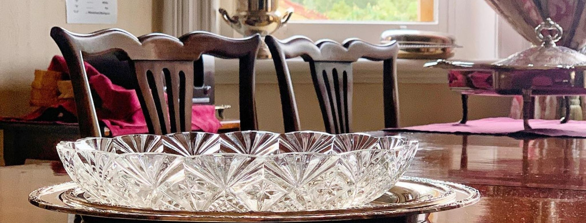 Silver Service In The Dining Room At Penghana Bed And Breakfast, Queenstown, Tasmania